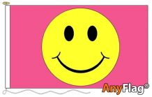 SMILEY FACE PINK  ANYFLAG RANGE - VARIOUS SIZES
